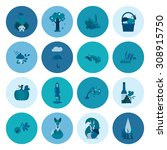 set of flat autumn icons.... | Shutterstock .eps vector #308915750