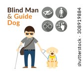 blind man with guide dog ... | Shutterstock .eps vector #308919884