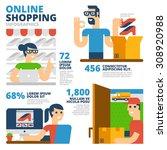 online shopping infographics | Shutterstock .eps vector #308920988