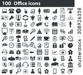 100 office icons set | Shutterstock .eps vector #308926358