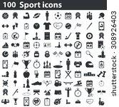 100 sport icons set.... | Shutterstock .eps vector #308926403