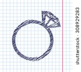 vector wedding ring icon... | Shutterstock .eps vector #308929283