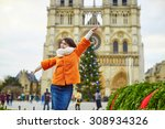 happy young tourist in paris on ... | Shutterstock . vector #308934326