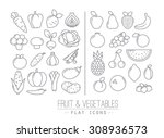 set of flat fruits and... | Shutterstock .eps vector #308936573