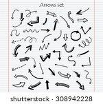 hand drawn vector arrows.black... | Shutterstock .eps vector #308942228