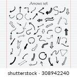 hand drawn vector arrows.black... | Shutterstock .eps vector #308942240