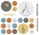 school and education icon set.... | Shutterstock .eps vector #308945234