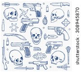 hand drawn doodle set with... | Shutterstock .eps vector #308945870