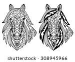 ornament horses. vector... | Shutterstock .eps vector #308945966