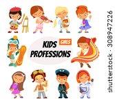 big set of cute cartoon... | Shutterstock .eps vector #308947226