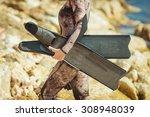 freediver girl  | Shutterstock . vector #308948039