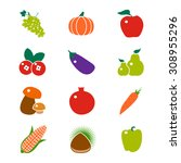 fruit and vegetable vector icon.... | Shutterstock .eps vector #308955296