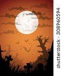 night halloween a4 format ... | Shutterstock .eps vector #308960594