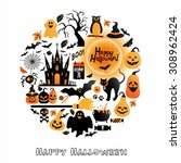 halloween icons set. vector... | Shutterstock .eps vector #308962424