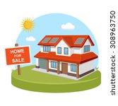 home for sold solar energy   Shutterstock .eps vector #308963750