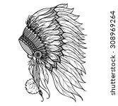 doodle headdress for native...   Shutterstock .eps vector #308969264