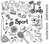 doodle sport equipment set with ... | Shutterstock .eps vector #308969633