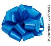 Small photo of Festive blue gift bow isolated on white background cutout