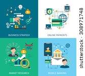banking marketing icons set... | Shutterstock .eps vector #308971748
