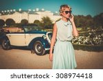 beautiful lady with mobile... | Shutterstock . vector #308974418