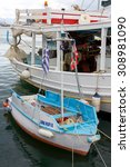 Small photo of Aegina, Greece - September 27, 2014: Small harbor at Aegina island. The Greek island of Aegina is in the Saronic Gulf.