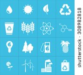 web icons set green  ecology... | Shutterstock .eps vector #308982818
