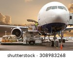 loading cargo on the plane in... | Shutterstock . vector #308983268