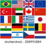 set of popular country flags | Shutterstock .eps vector #308991884