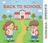 girl boy back to school   Shutterstock .eps vector #309005978