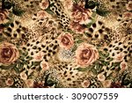 Stock photo texture of print fabric striped leopard and flower for background 309007559