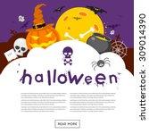 happy halloween poster  banner  ... | Shutterstock .eps vector #309014390