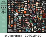 Mega collection labels set premium quality, cafe, bakery, sale, Christmas, and, coffee, USA, ribbons and other | Shutterstock vector #309015410