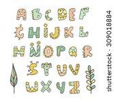 cartoon hand drawn doodle... | Shutterstock .eps vector #309018884