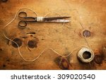 old wood table with thread and... | Shutterstock . vector #309020540
