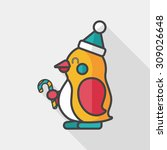 Penguin Flat Icon With Long...