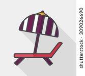 lounger beach sunbed chair flat ... | Shutterstock .eps vector #309026690