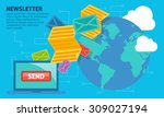 newsletter   send email and... | Shutterstock .eps vector #309027194