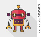 robot flat icon with long... | Shutterstock .eps vector #309030224