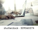 business documents on office... | Shutterstock . vector #309060374