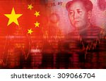 flag of china with face of mao... | Shutterstock . vector #309066704