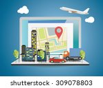 laptop with world map on screen....   Shutterstock .eps vector #309078803
