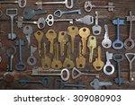 keys locks wooden background   Shutterstock . vector #309080903