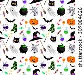 vector seamless halloween... | Shutterstock .eps vector #309084626