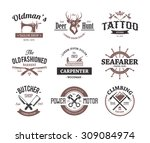 set of retro styled emblems.... | Shutterstock .eps vector #309084974