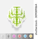 Chandelier Paper Sticker With...