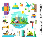 set of hike elements and icons  ... | Shutterstock .eps vector #309096806