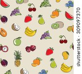 background collection fruits... | Shutterstock .eps vector #309097370