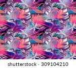 seamless tropical pattern... | Shutterstock . vector #309104210