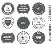 vintage emblems  labels. demo... | Shutterstock .eps vector #309108059
