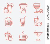 set of drinks icons  flat